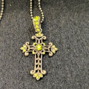 Antique style crucifix with green stones